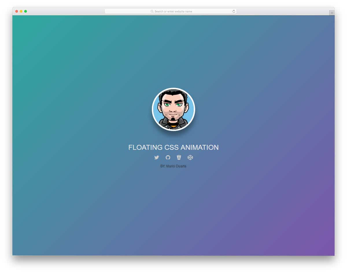 floating profile card animation example