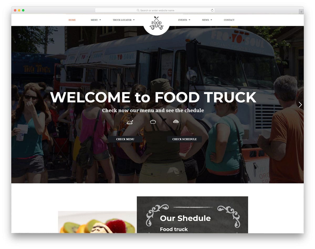 clean and rich looking food truck WordPress themes