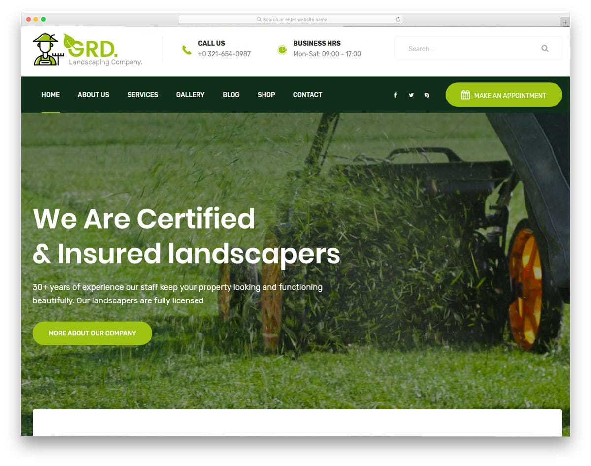 gardening and landscaping WordPress theme with multiple demos