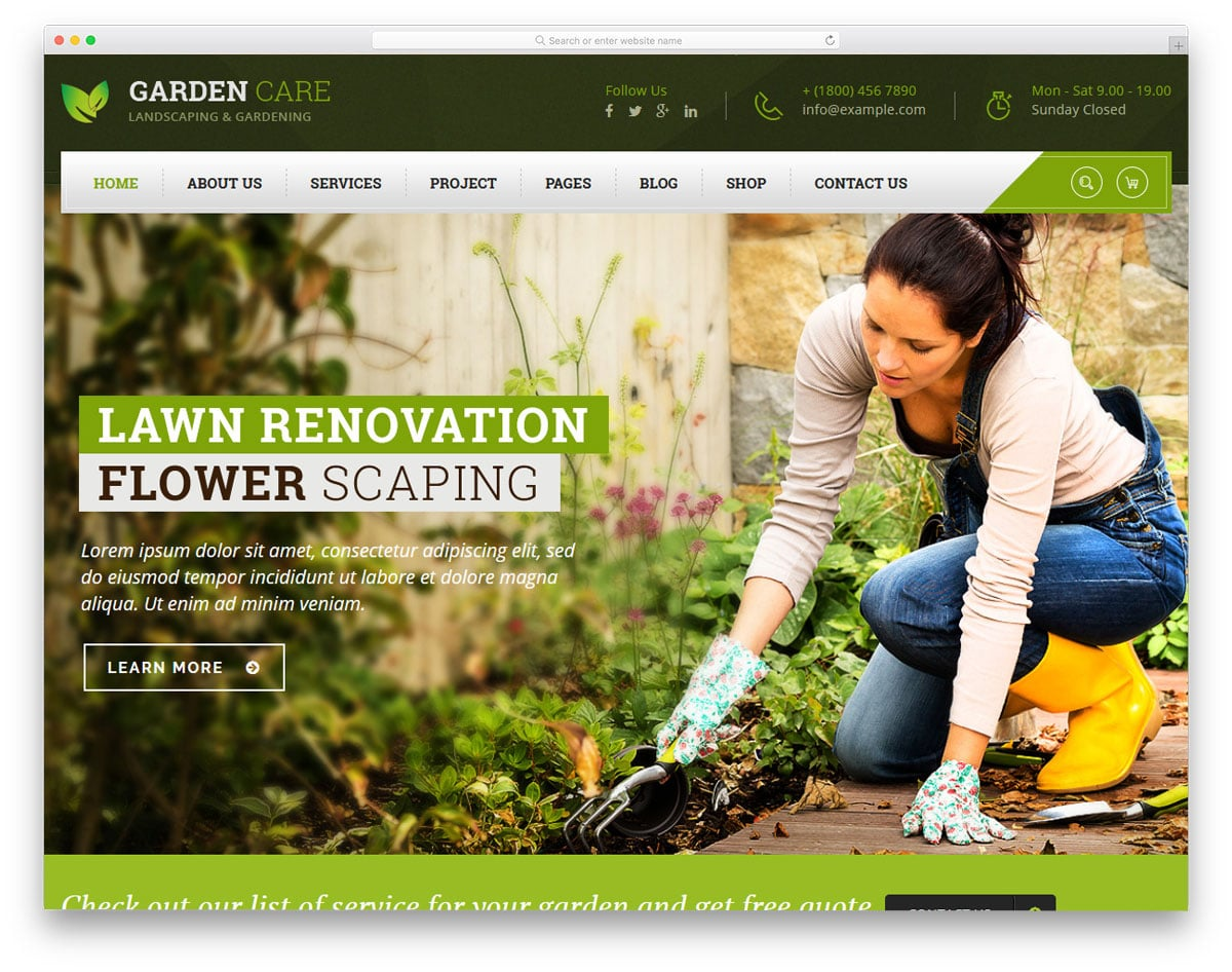 bold looking garden and service wordpress theme