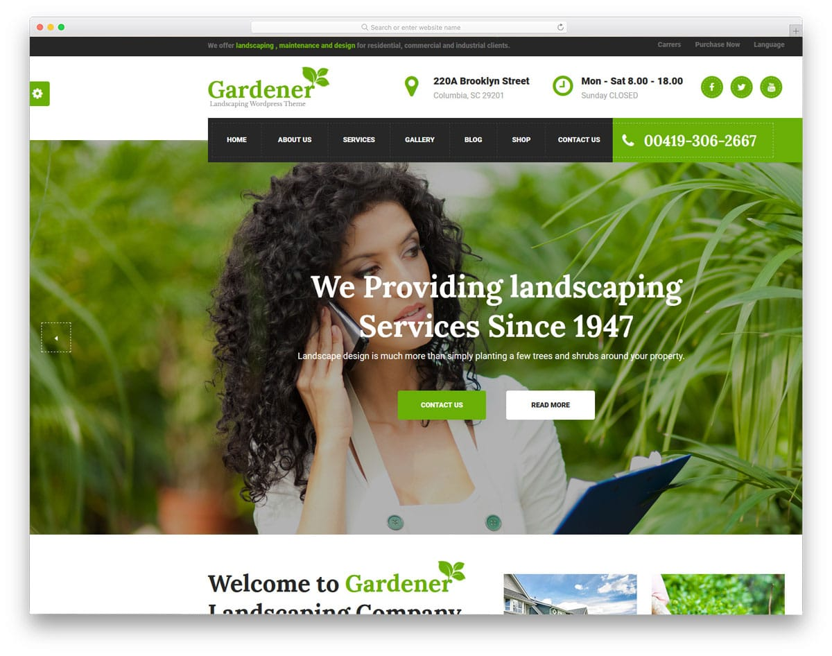 gardener - wordpress themes for gardening