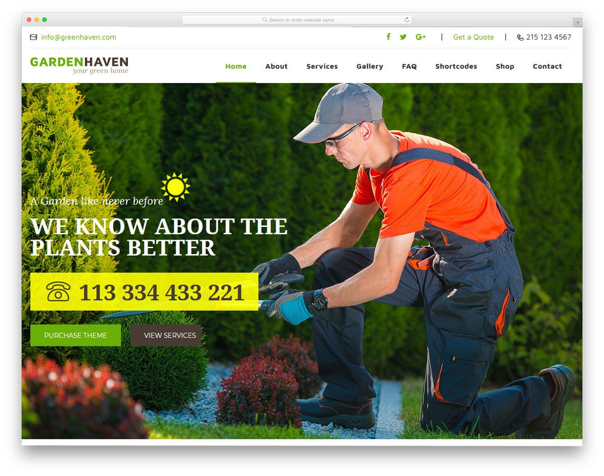 gardening wordpress theme with plenty of customization options