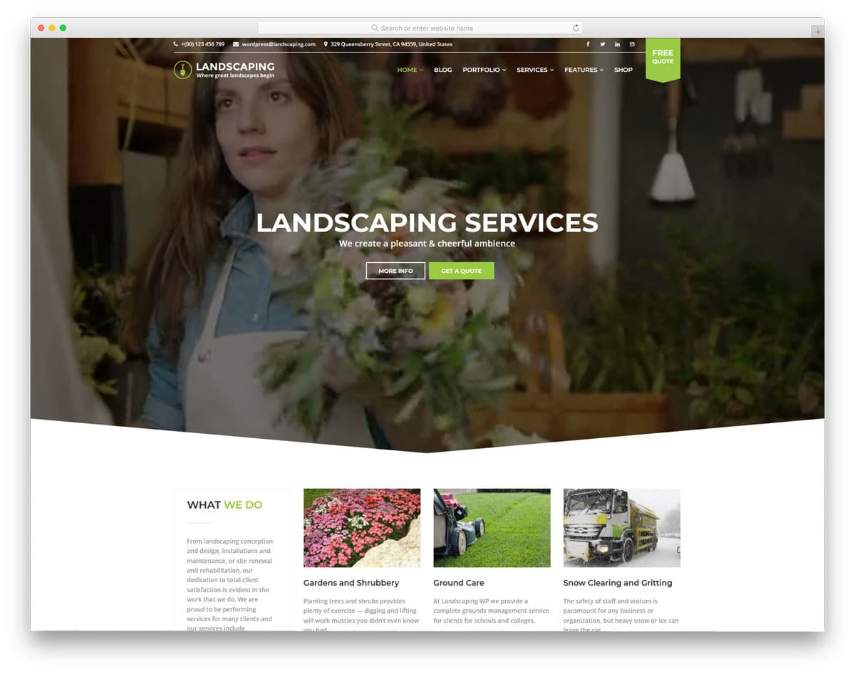 WordPress Themes Video Background for landscaping
