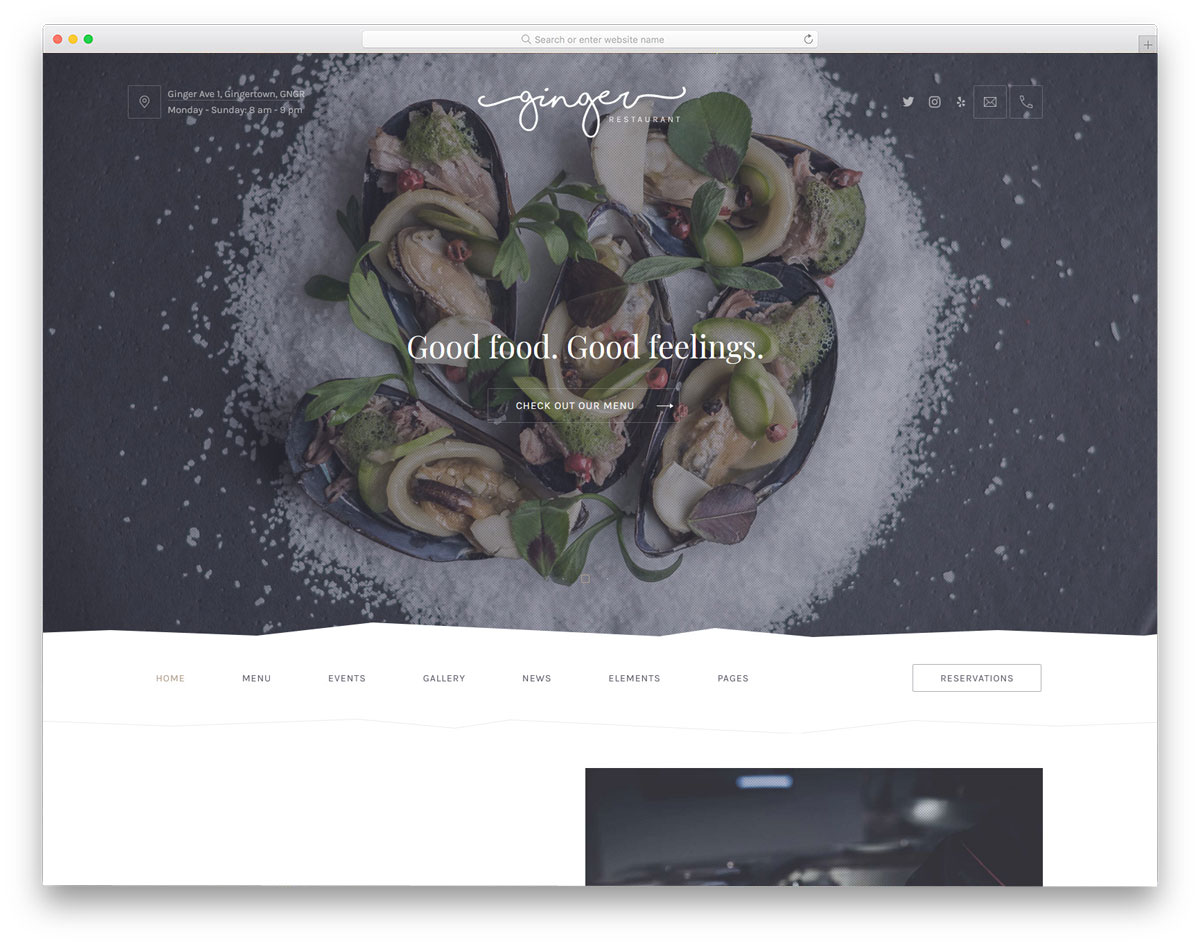 properly organized WordPress theme for restaurants