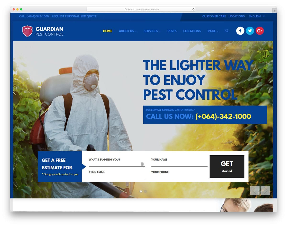 easy to setup pest control wordpress themes