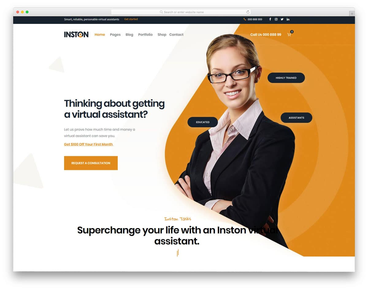modern virtual assistant wordpress theme