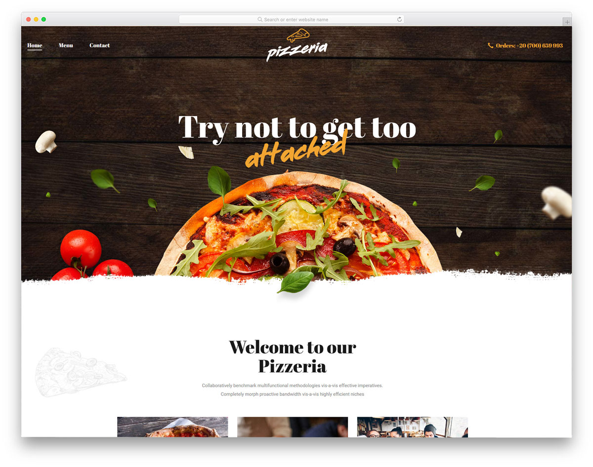 easy to customize WordPress theme for pizza stores and food trucks