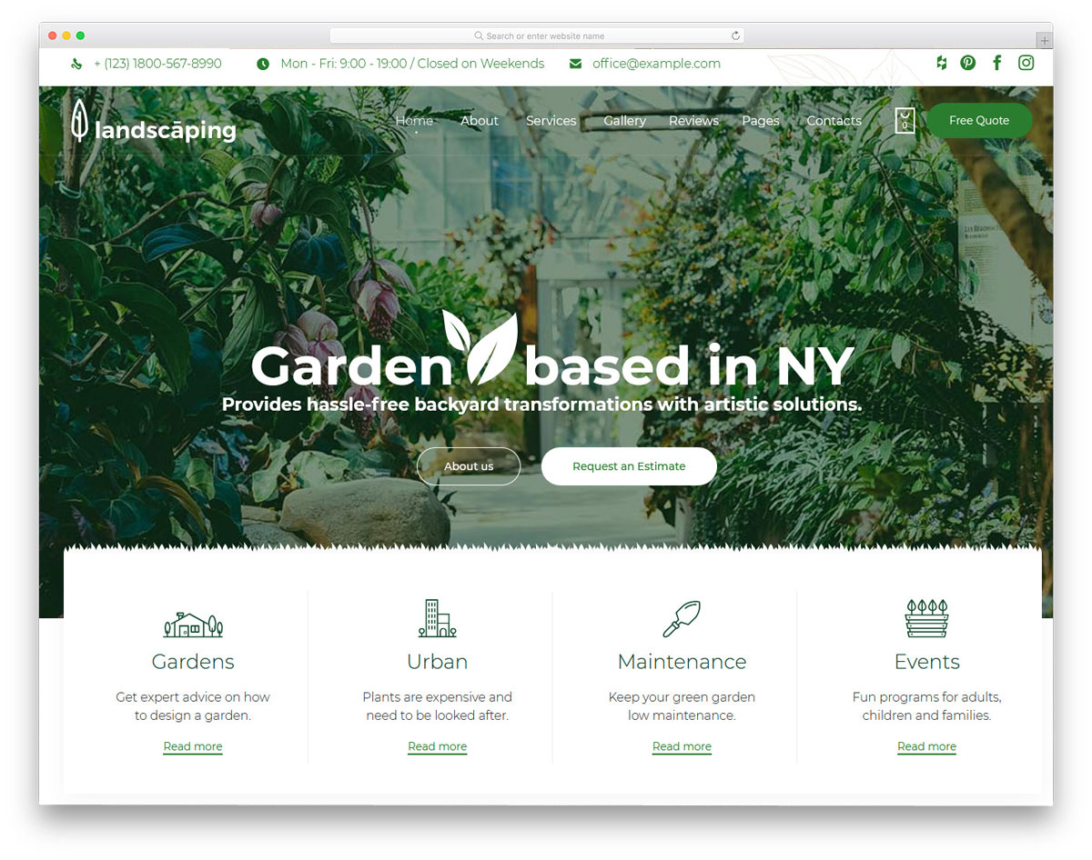 modern and eye-pleasing landscaping website templates