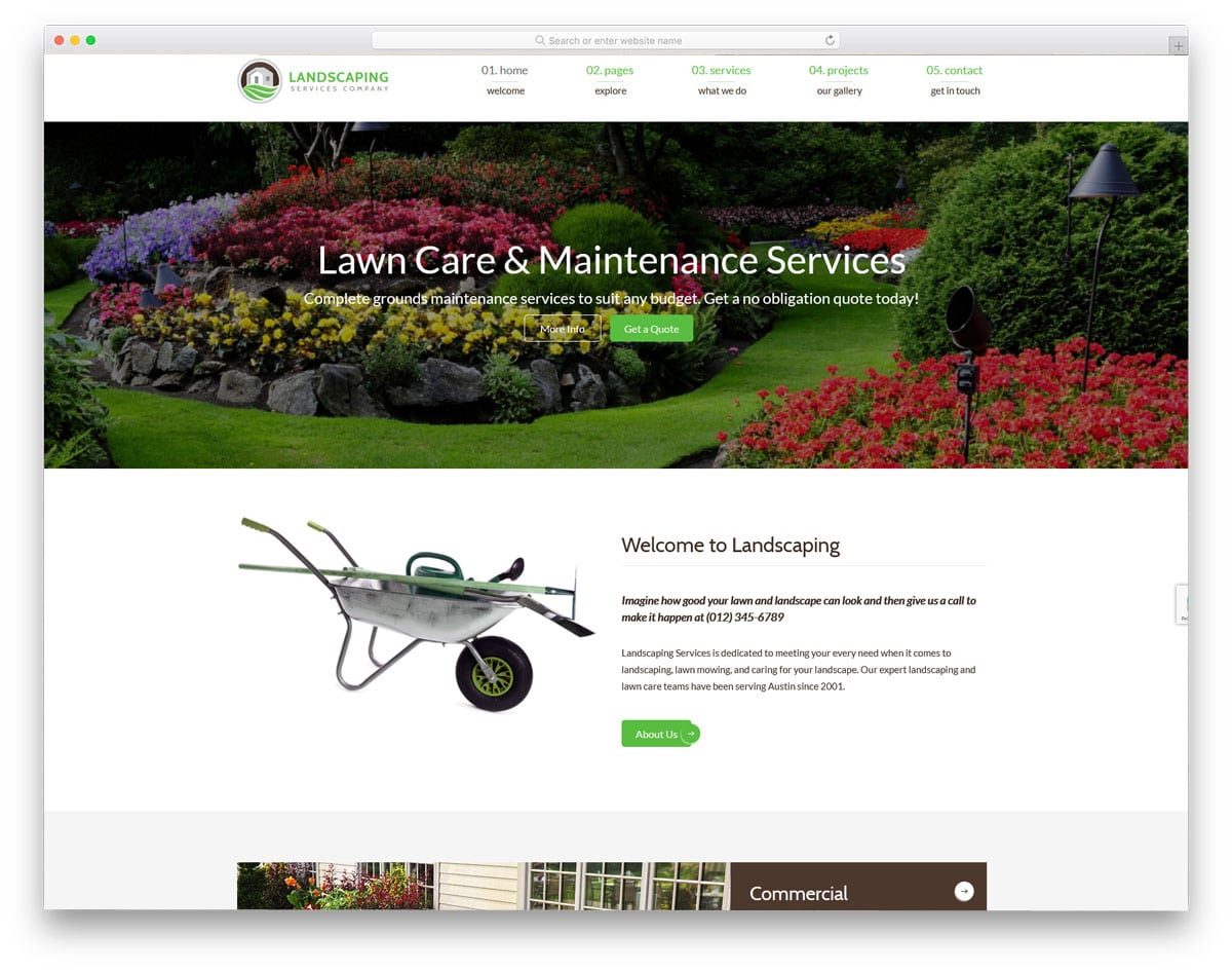 html version of the ladscaping wordpress theme