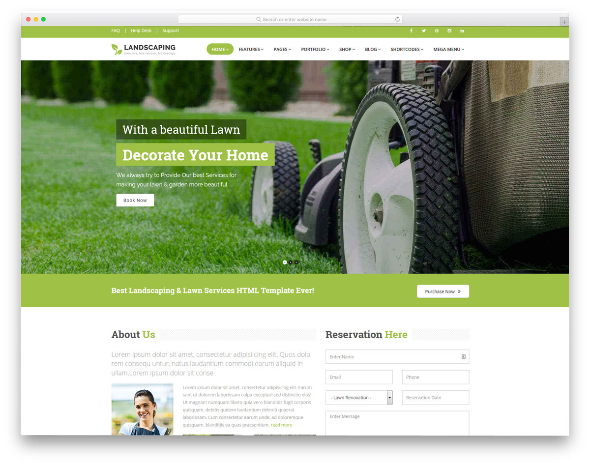 sensibly designed landscaping website templates