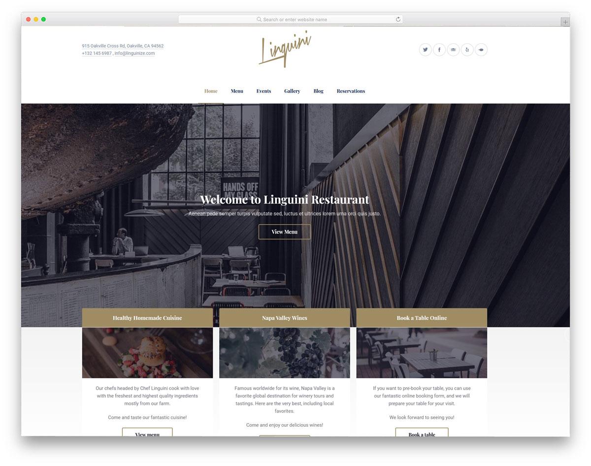 restaurant WordPress theme with friendly navigation options