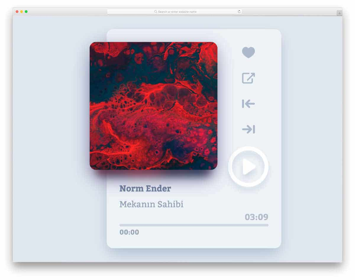 music player widget concept