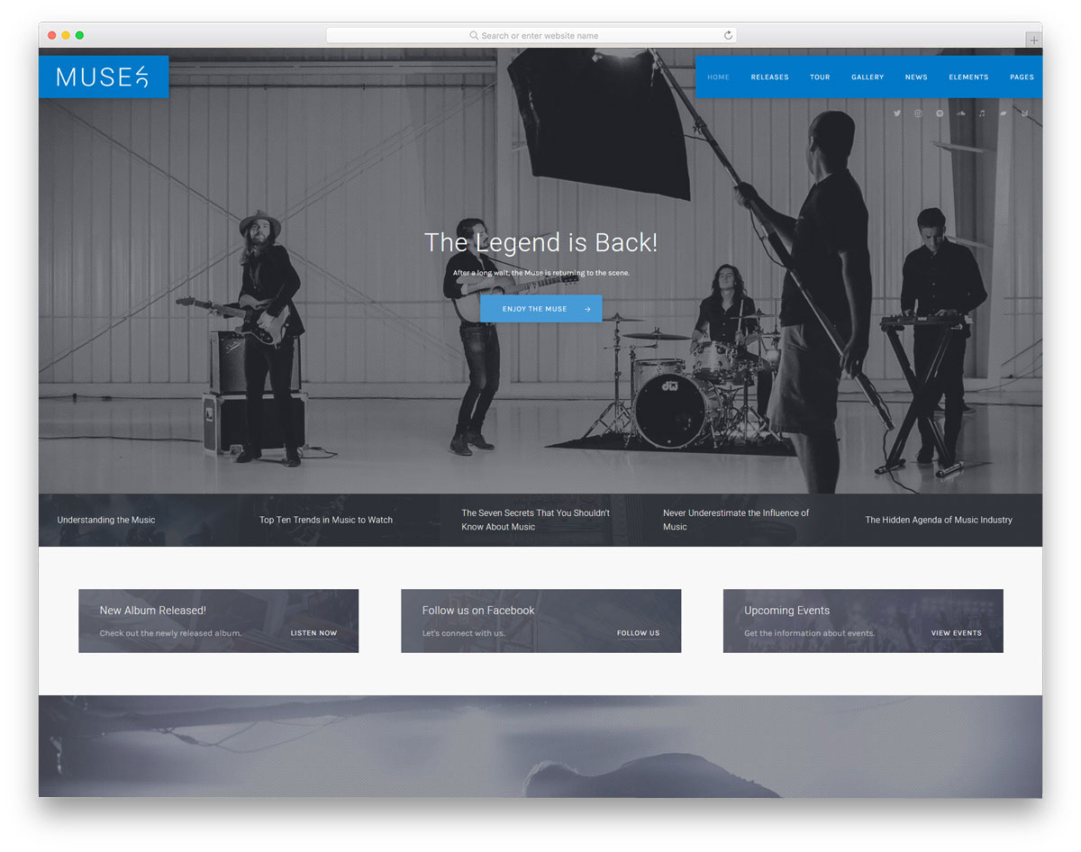 simple and neat WordPress themes for music bands