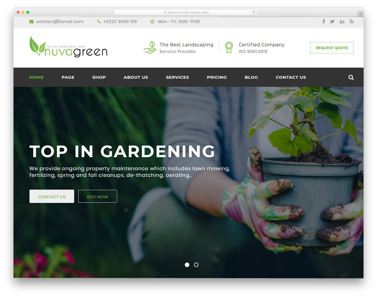 easy to use gardening and landscaping website templates