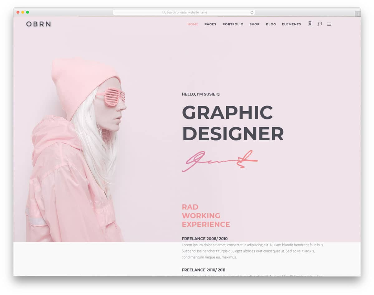 minimal and simple looking personal website