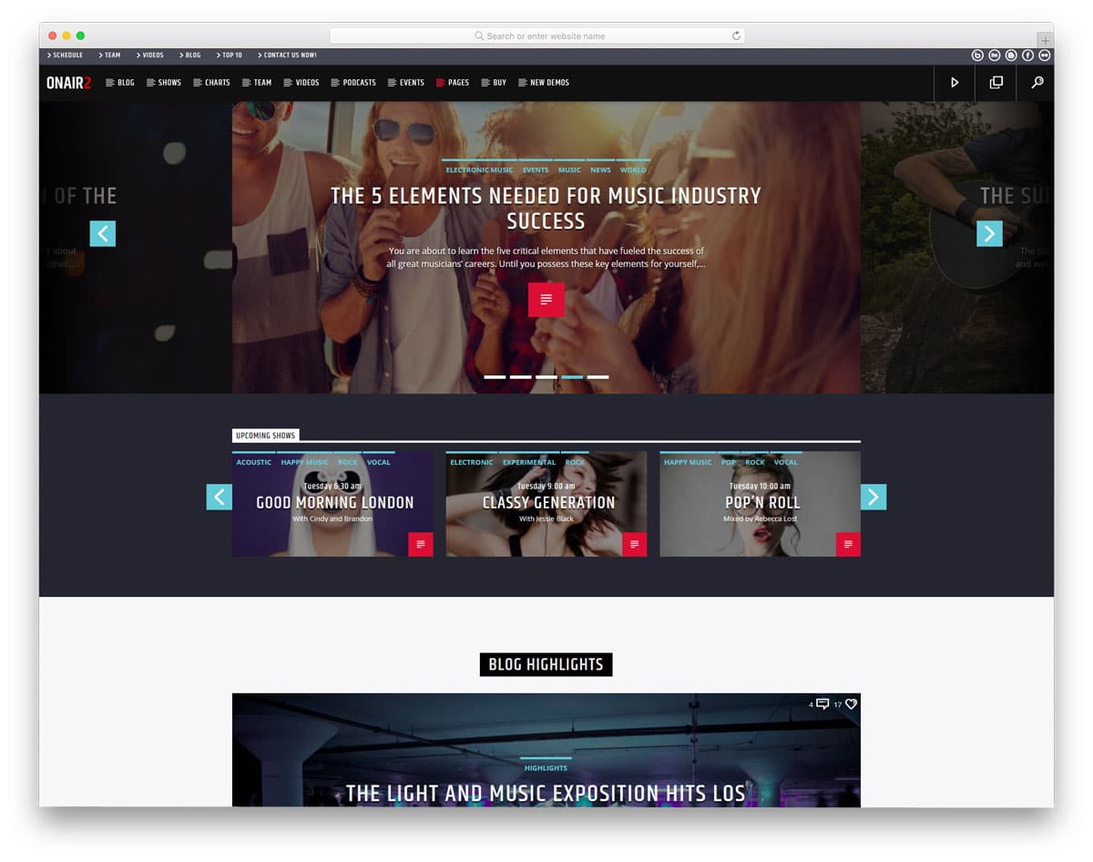 WordPress theme for radio stations