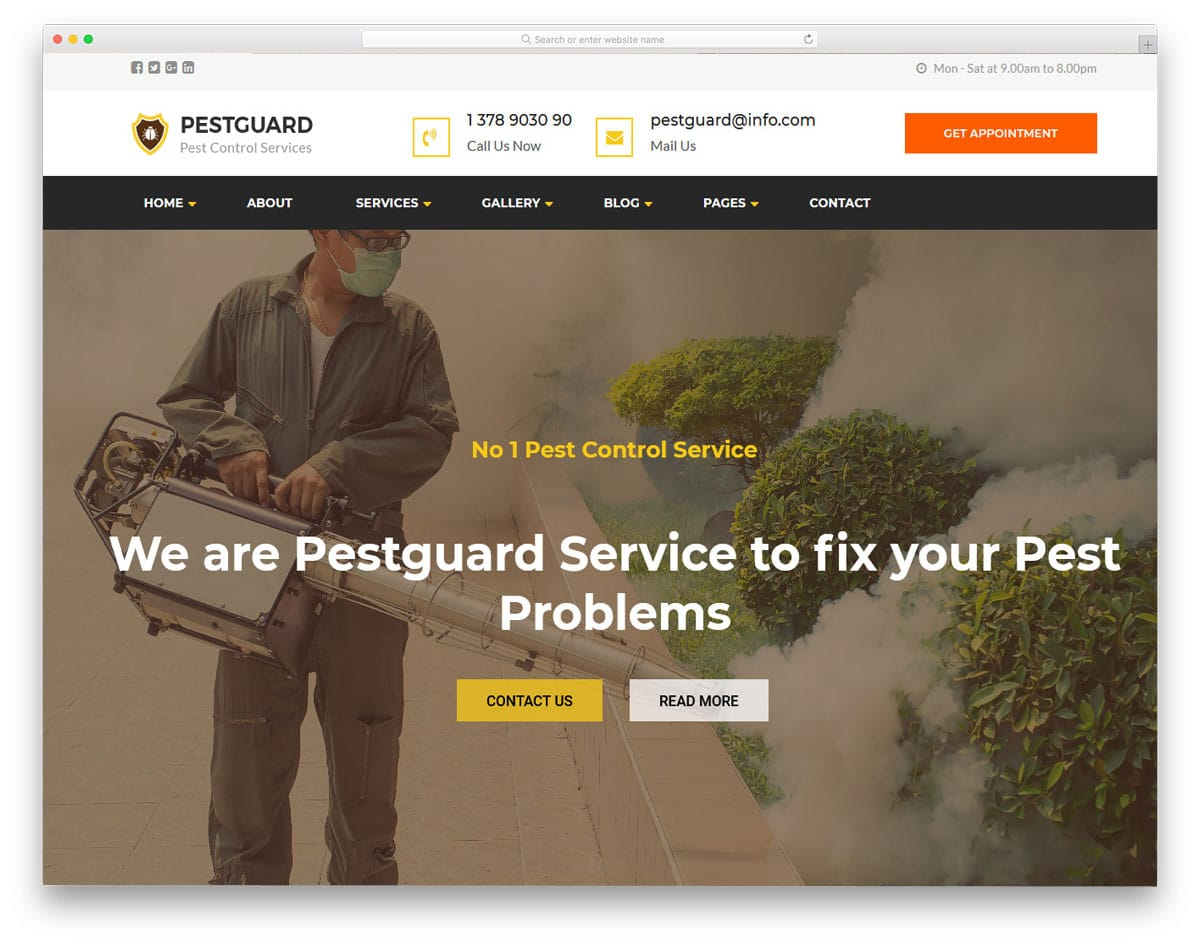 sensibly designed pest control wordpress theme
