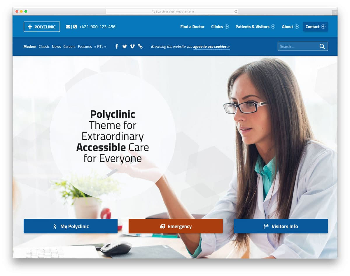 healthcare WordPress theme with proper accessible options