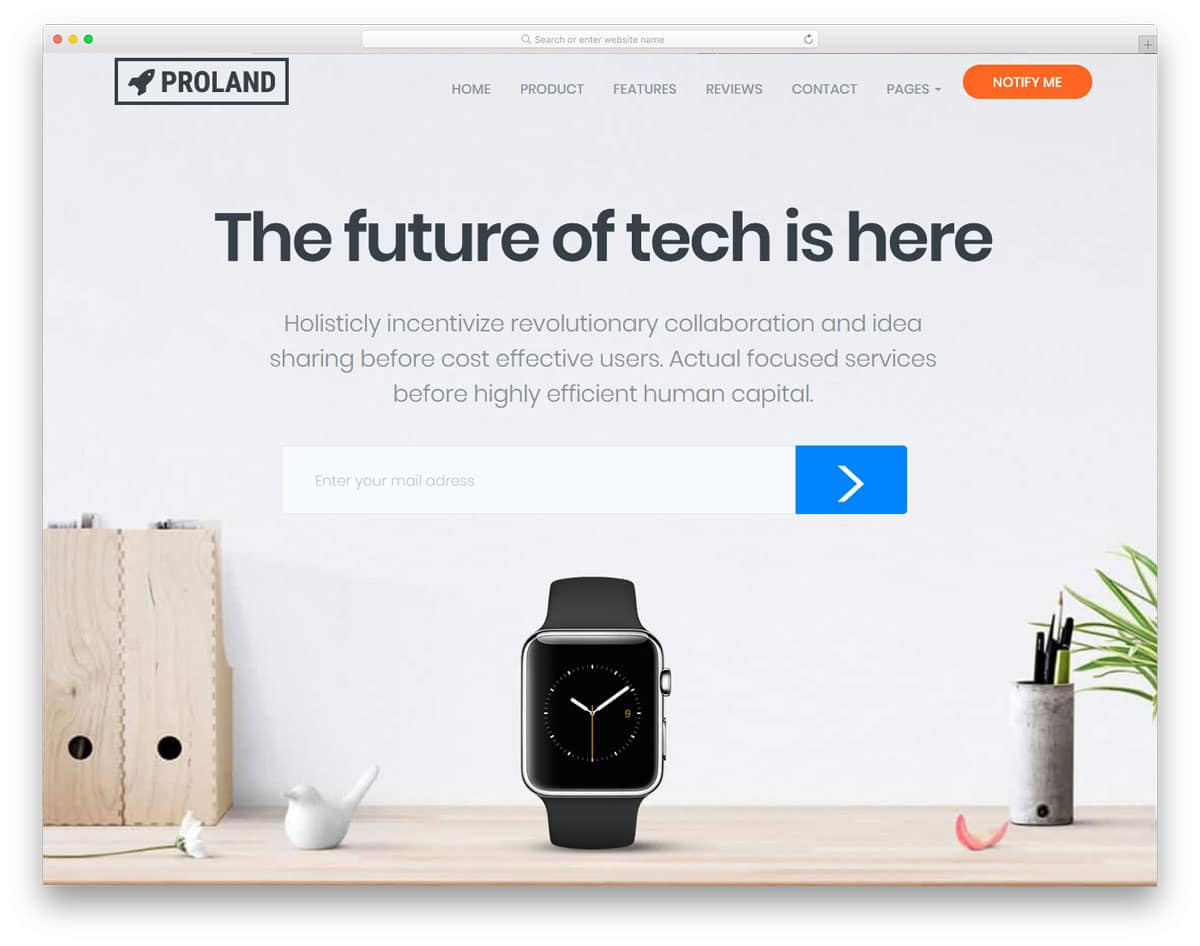 prodcut landing page with bold texts