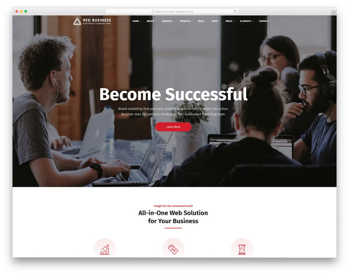 traditional looking website template with useful features