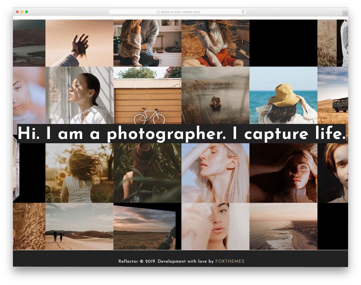 photography website theme with photowall