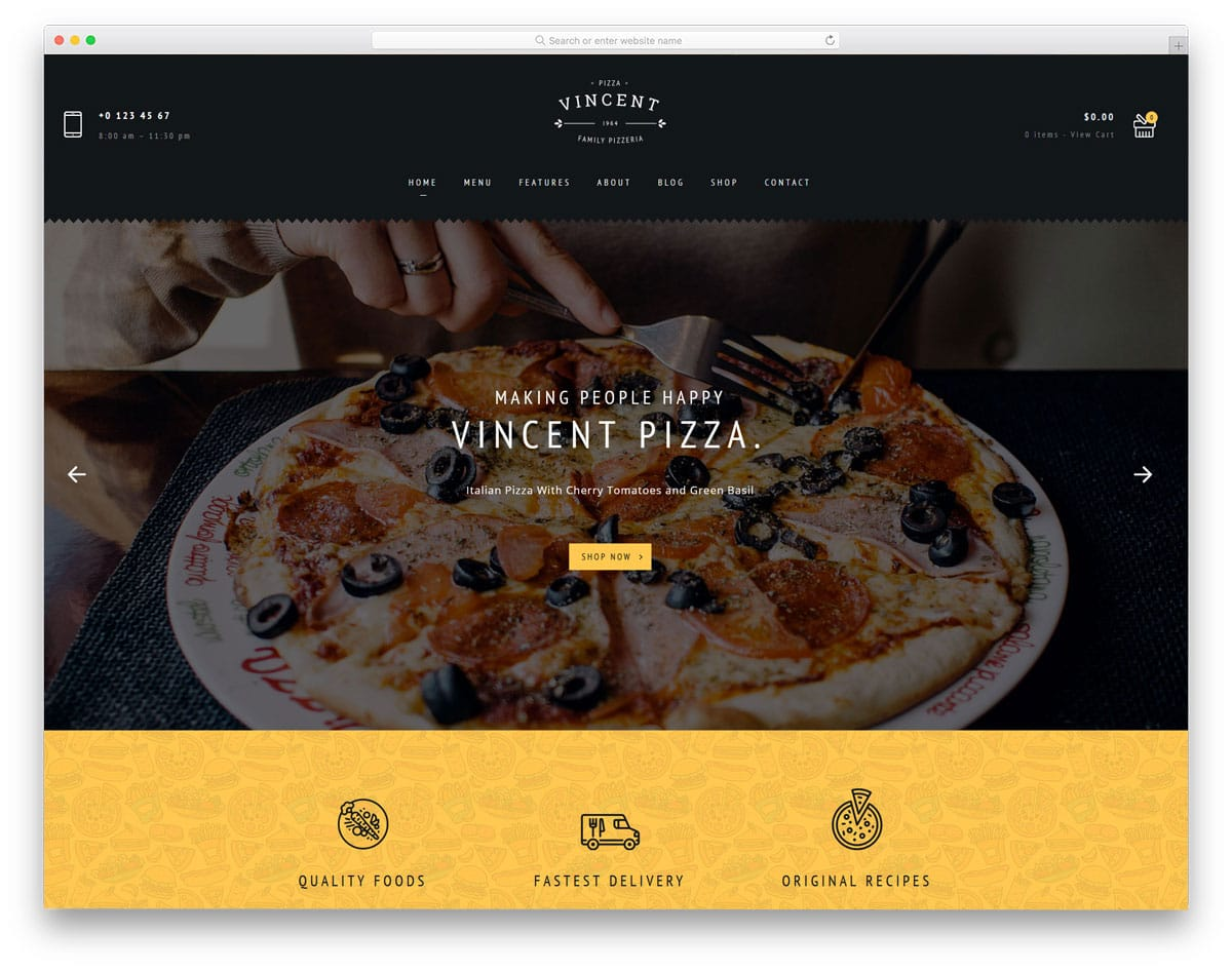 WordPress theme for pizza stores and restaurants