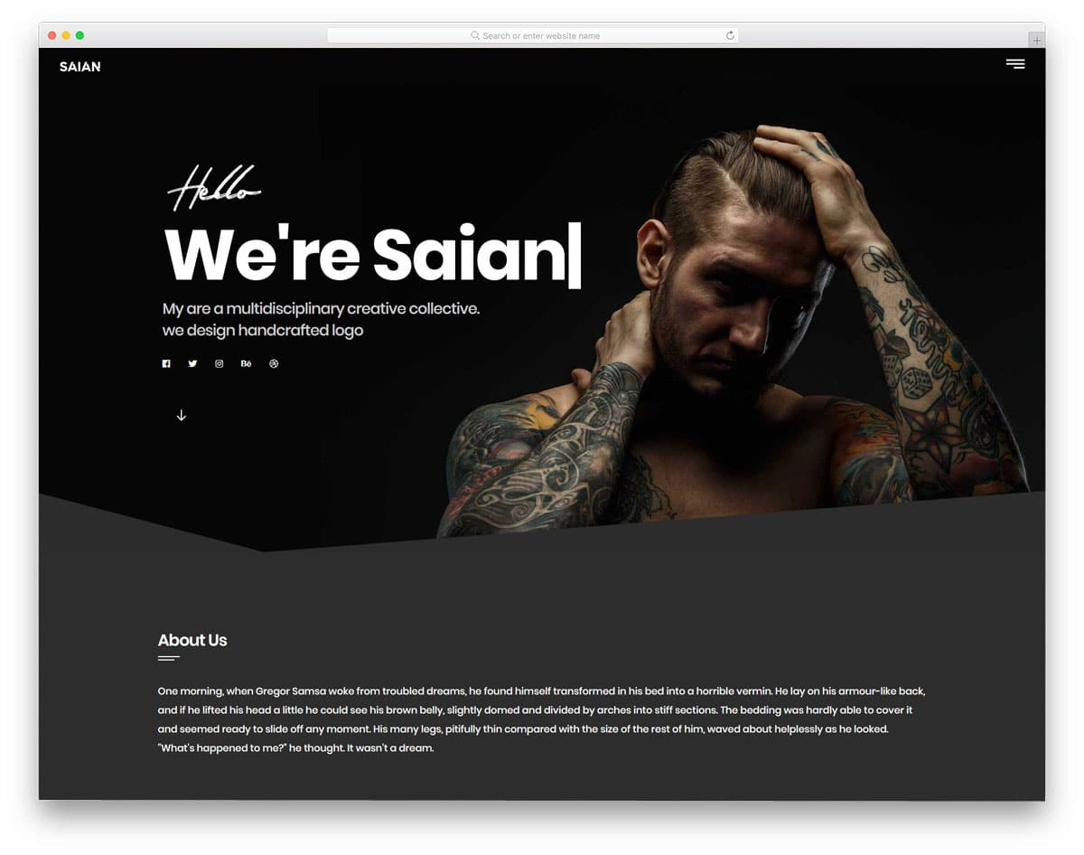 creative one page portfolio website template