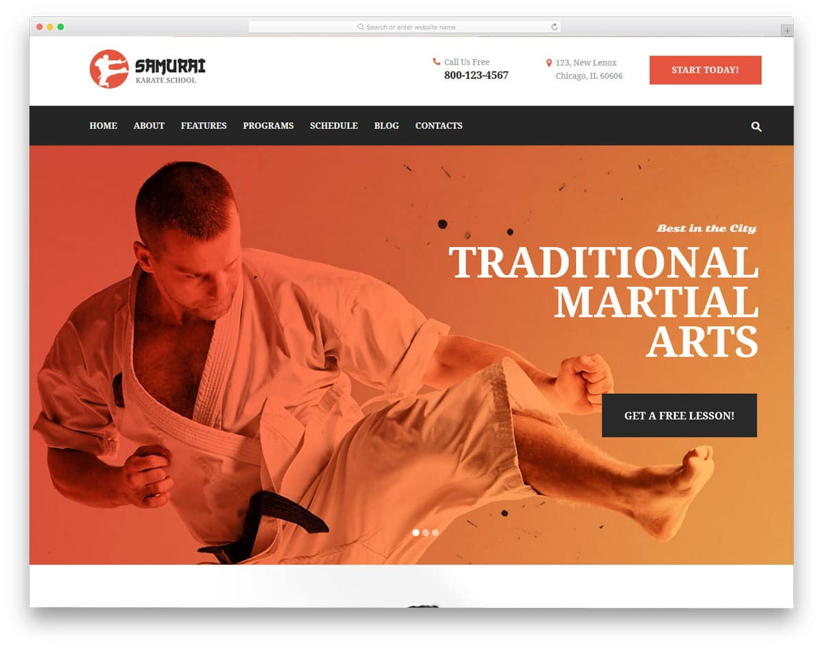 martial arts wordpress themes for karate professionals