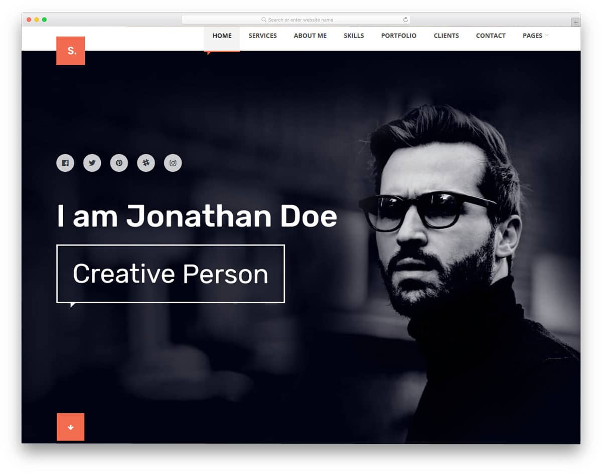 personal website WordPress theme for creative professionals