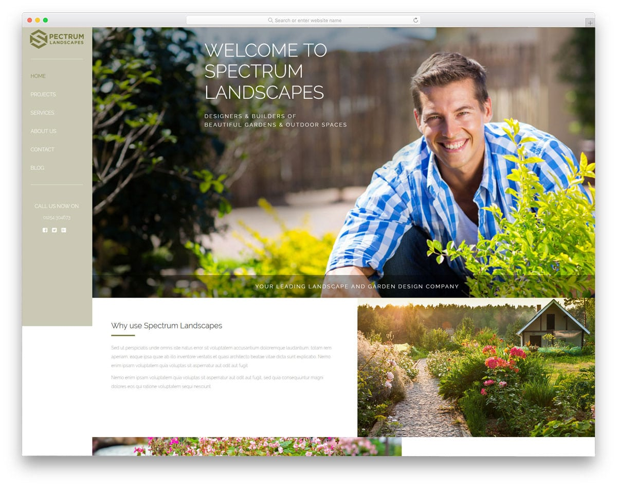 simple landscaping wordpress theme with stick side navigation bar