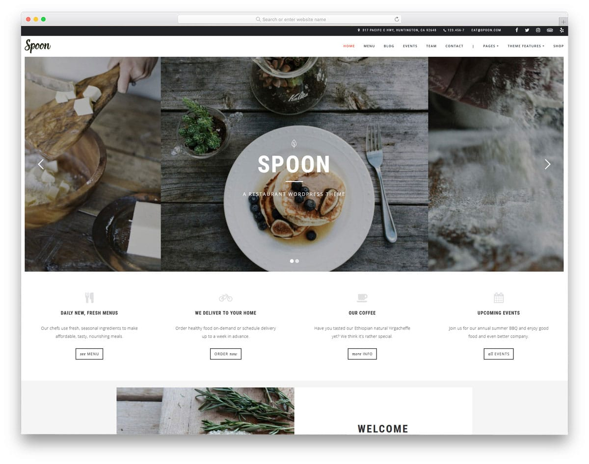 minimal looking food truck WordPress themes