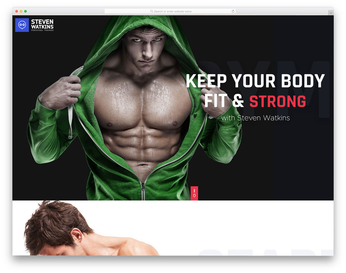personal website theme for fitness trainers