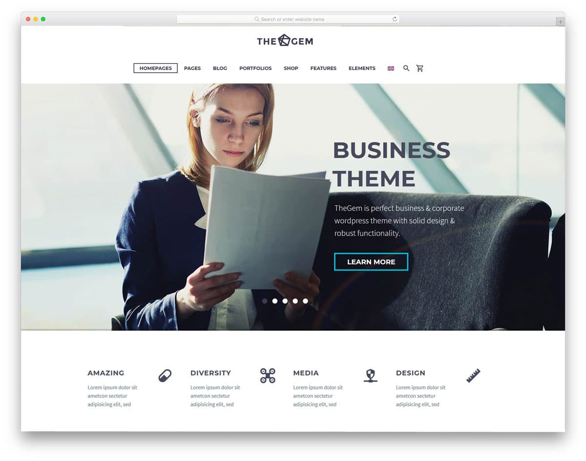 multipurpose WordPress theme with designs for all major category