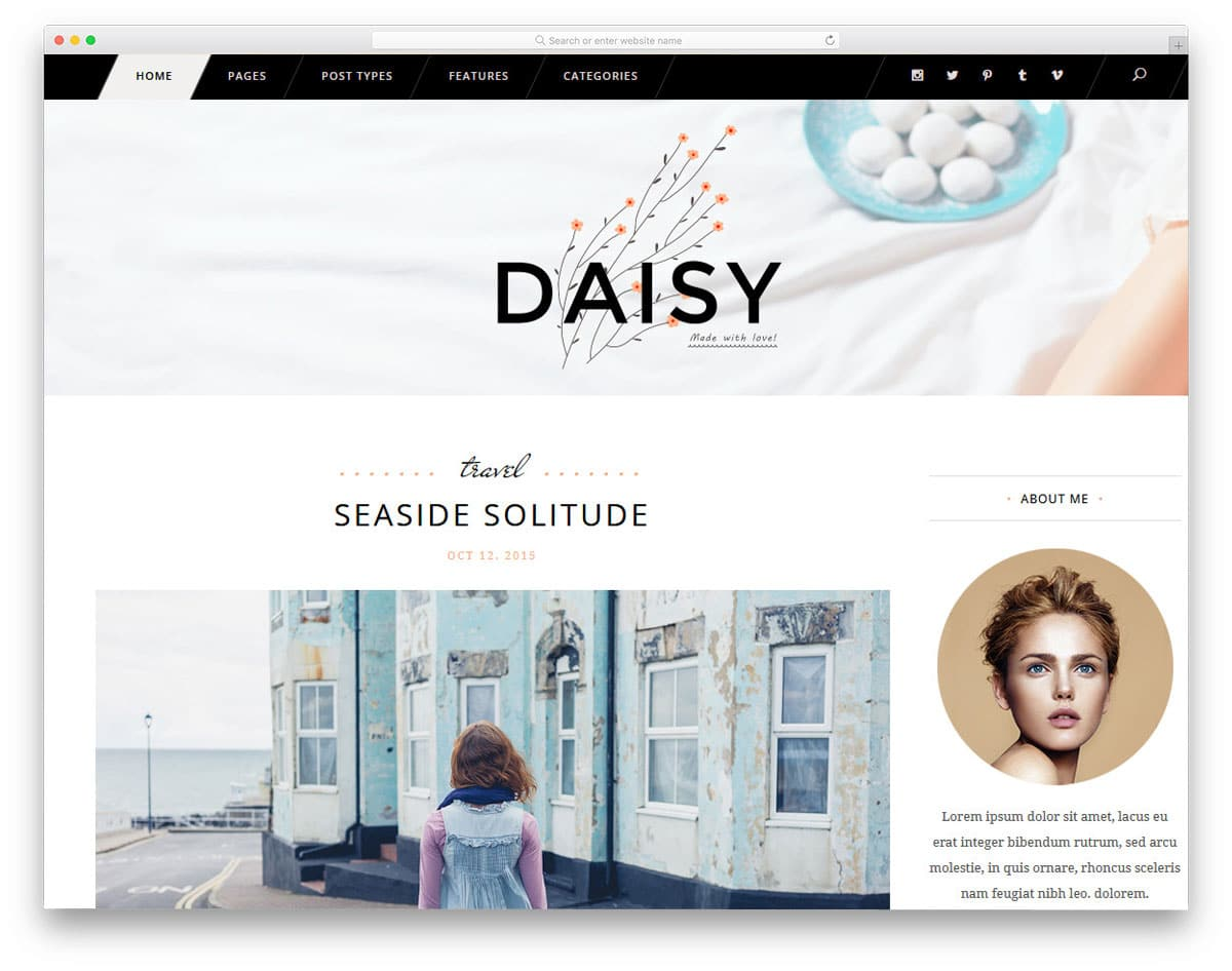 blog theme with separate design for men and women