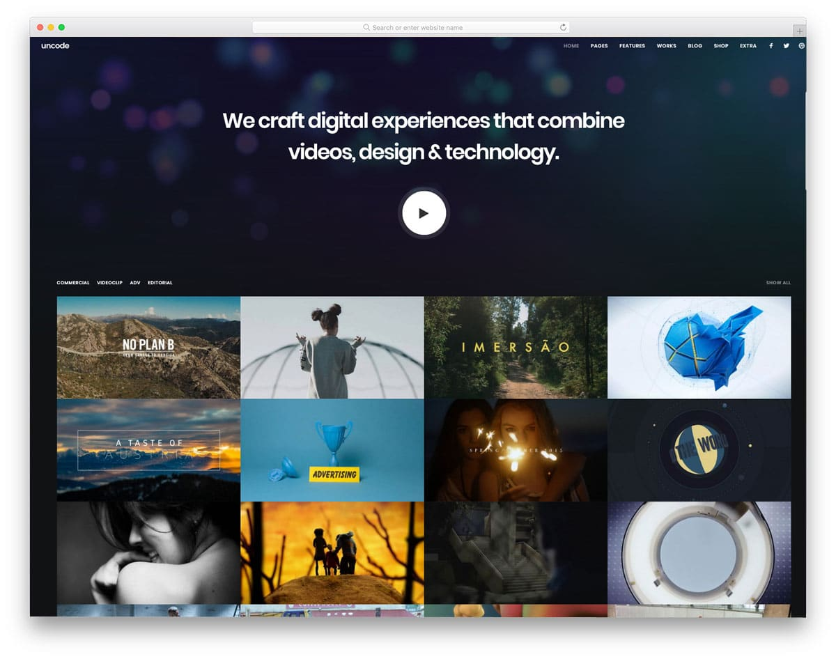 WordPress Themes Video Background for portfolio websites