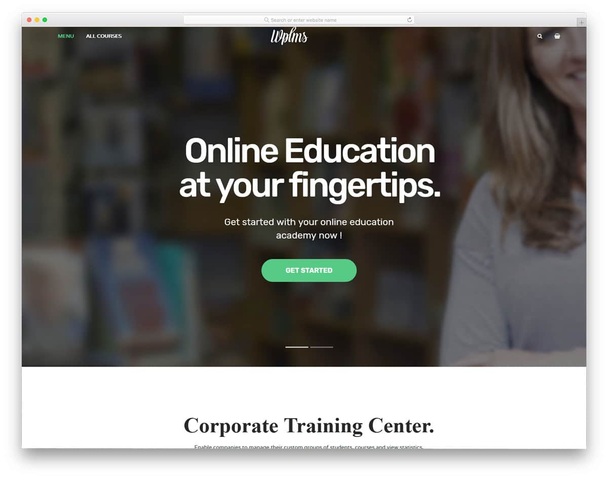 education wordpress theme optimized with learning management system