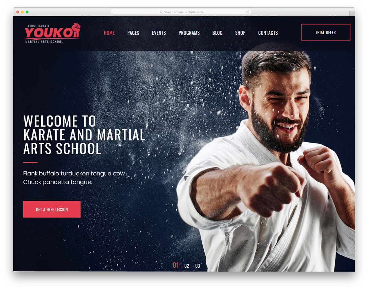 simple and neat fitness website theme