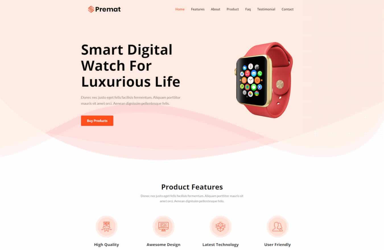 product website templates premat