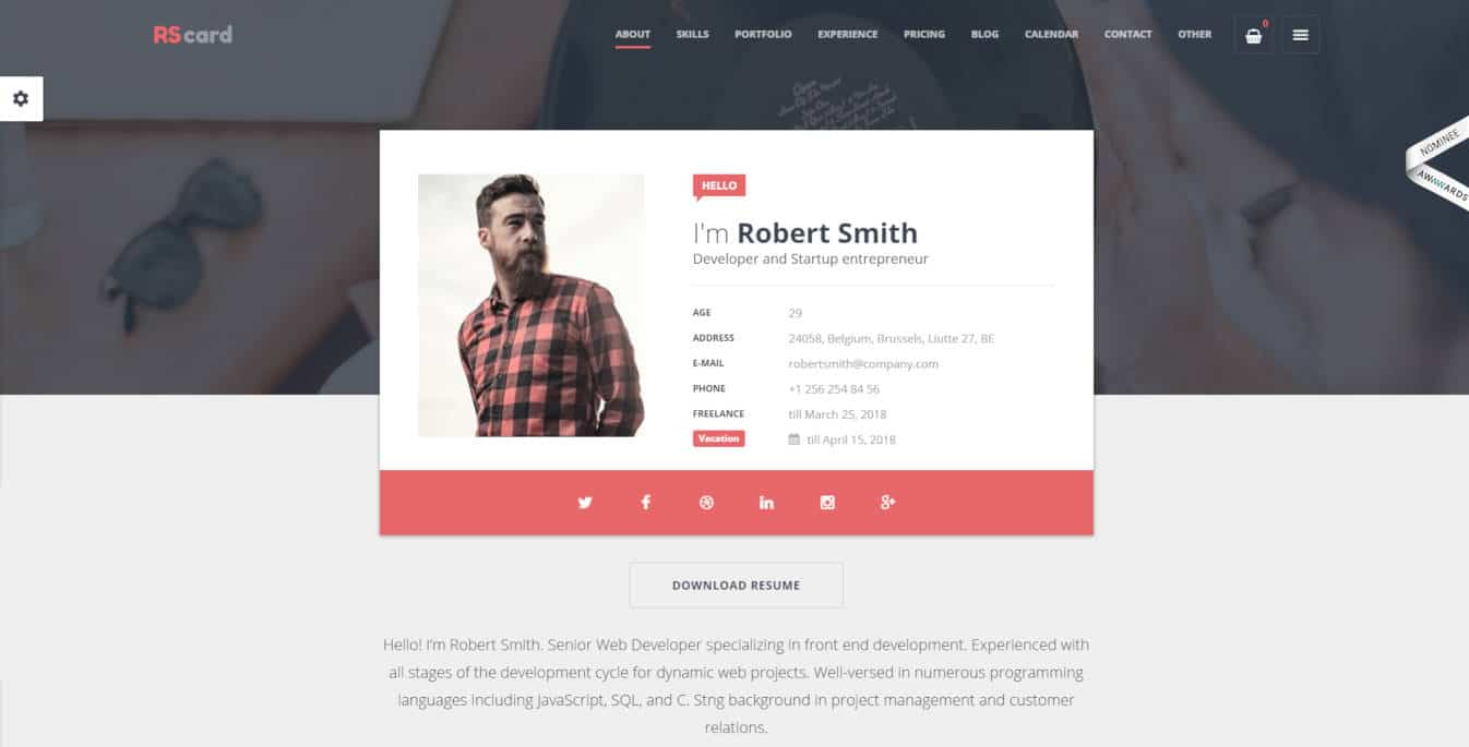 resume website templates RScard