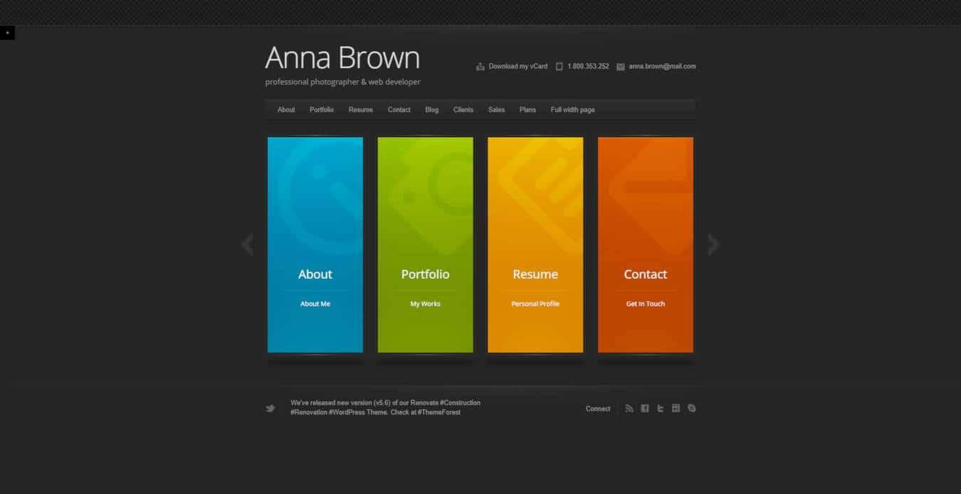 resume website templates cascade