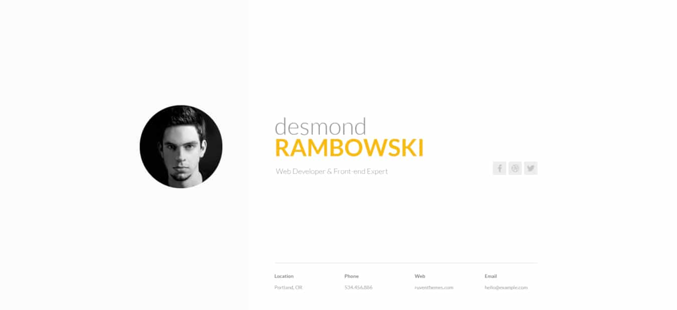 resume website templates desmond