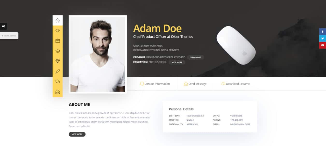 resume website templates porto