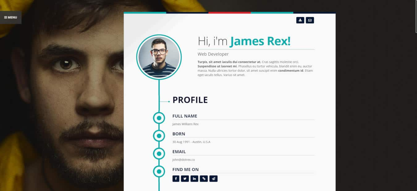 resume website templates vertica
