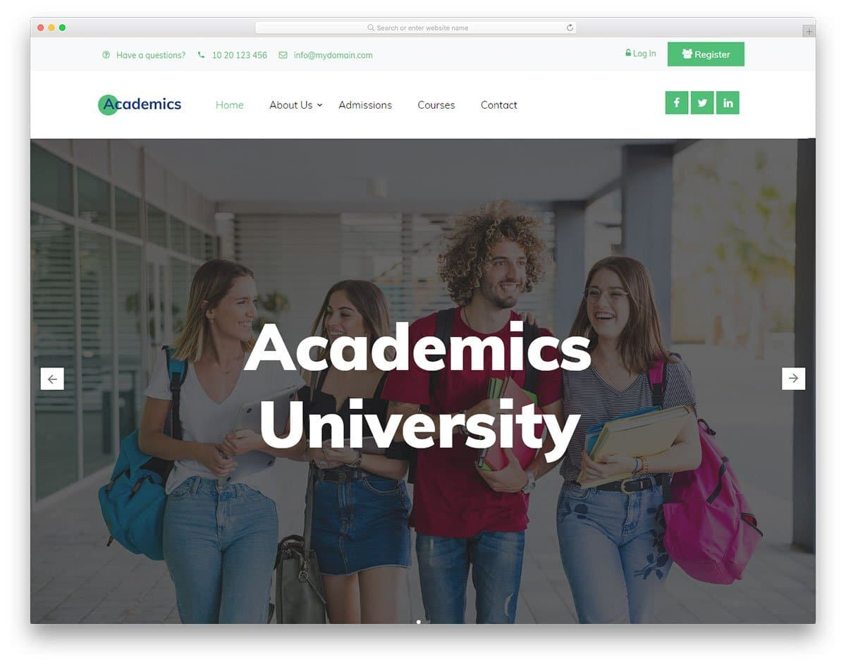 modern clean university and college website template