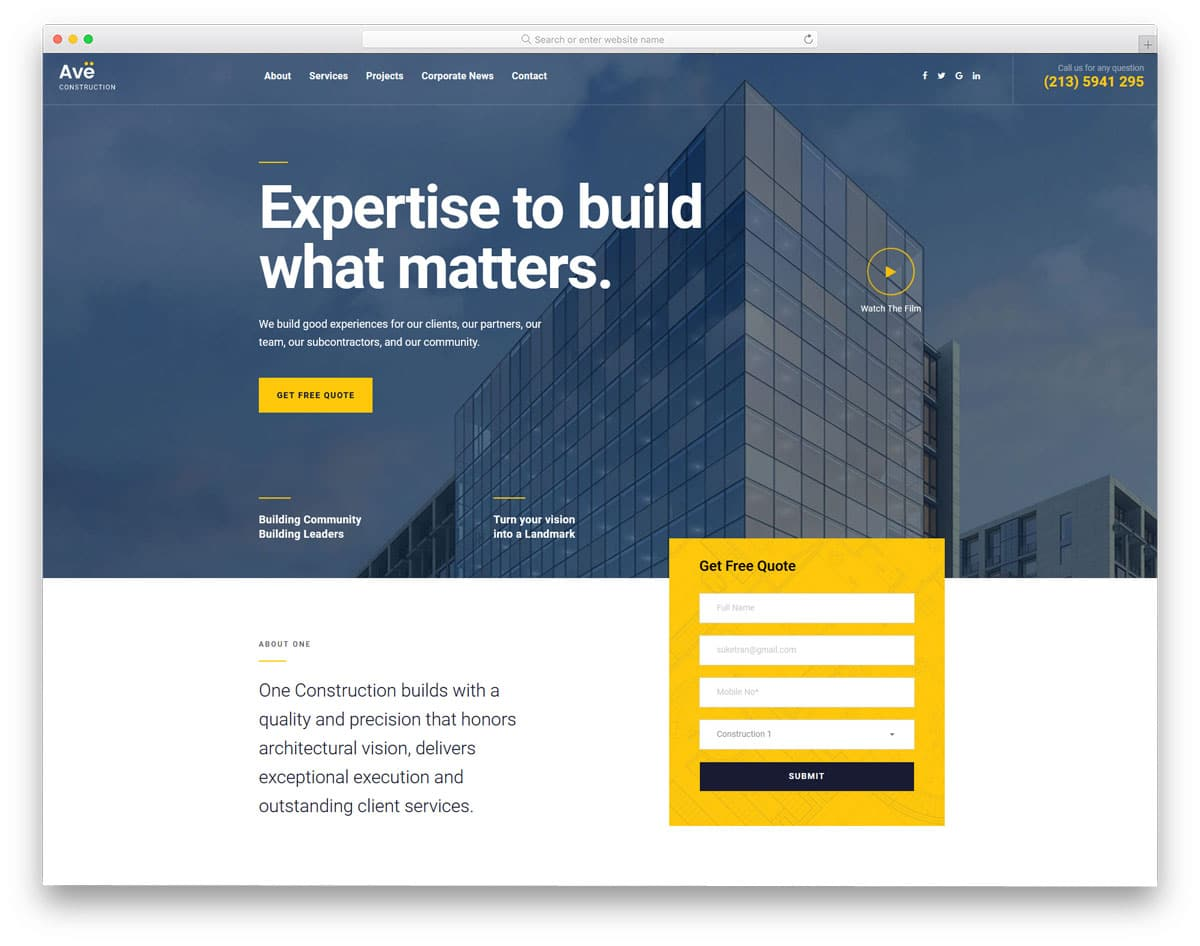 modern construction and house maintenance service WordPress theme