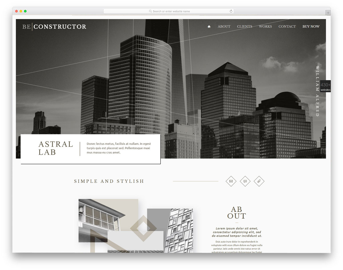 classy and professional looking modern costruction business theme