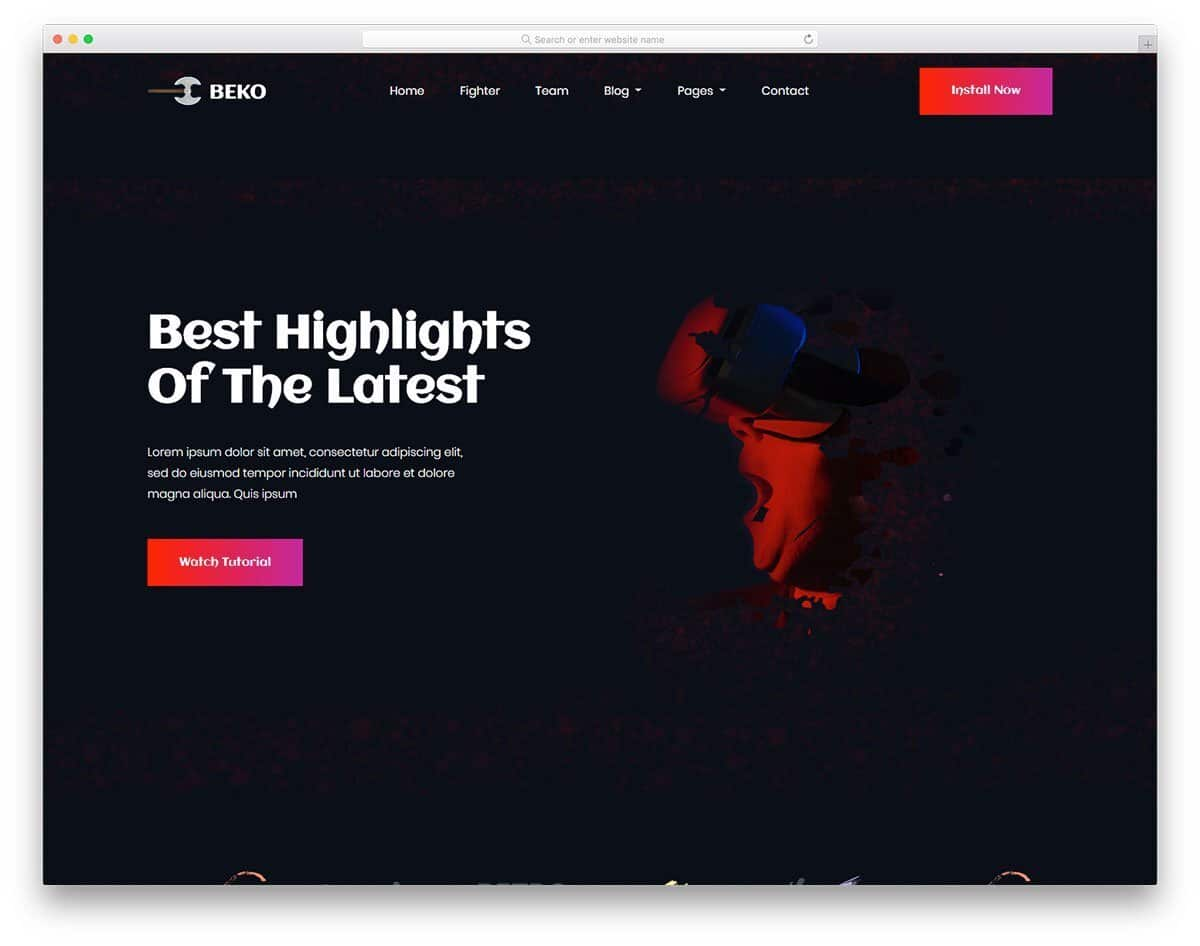 gradient color rich gaming website template