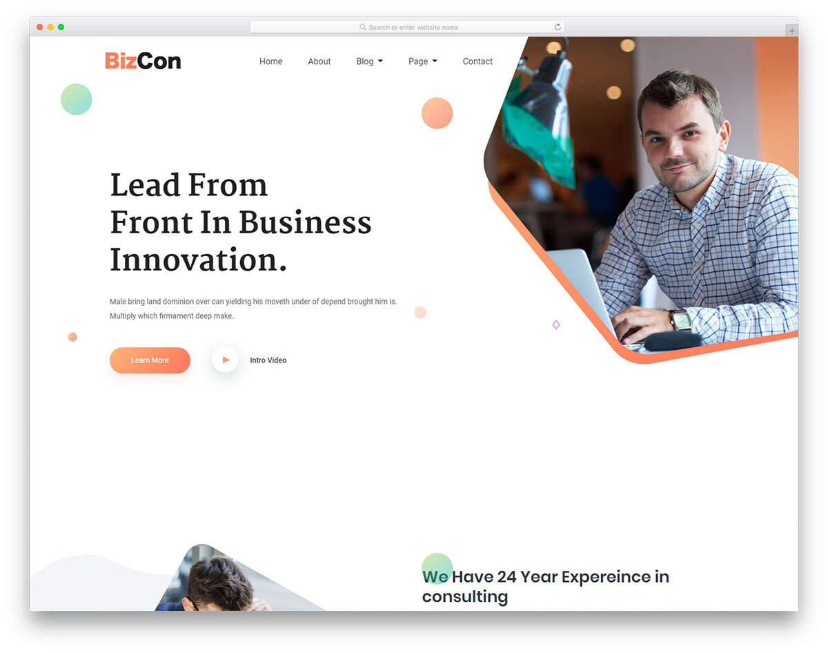 creative website template for modern businesses and banks