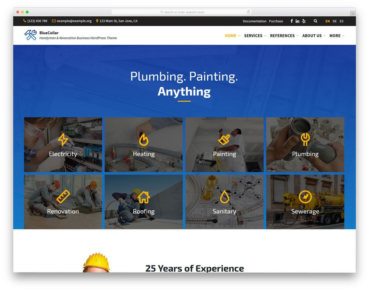wordpress theme for plumbing, painting, and renovation services