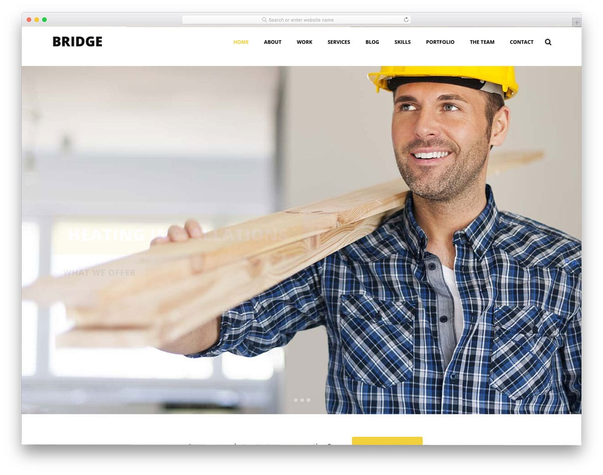 minimal and clean looking construction wordpress theme